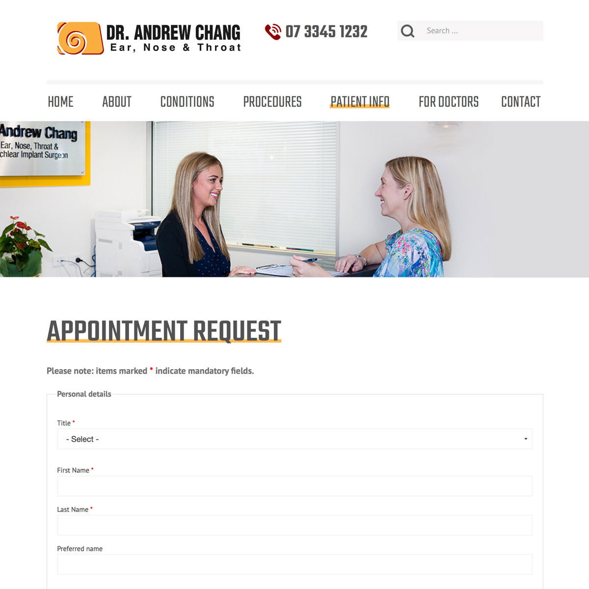 Dr Andrew Chang - Appointment Request