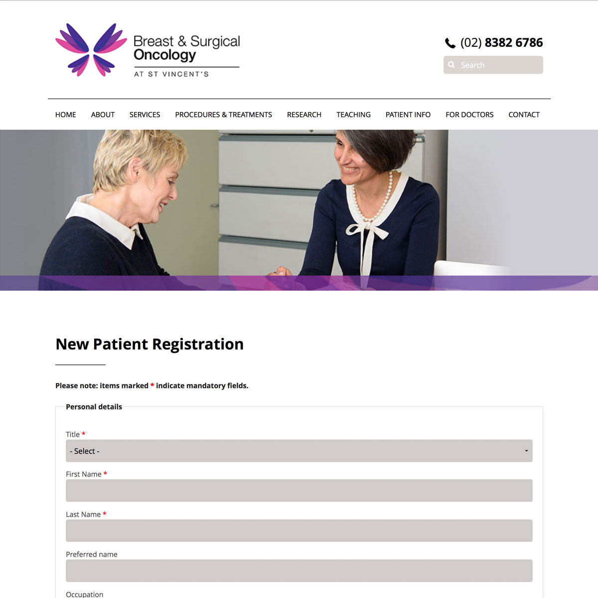 Surgical Oncology - Patient Registration
