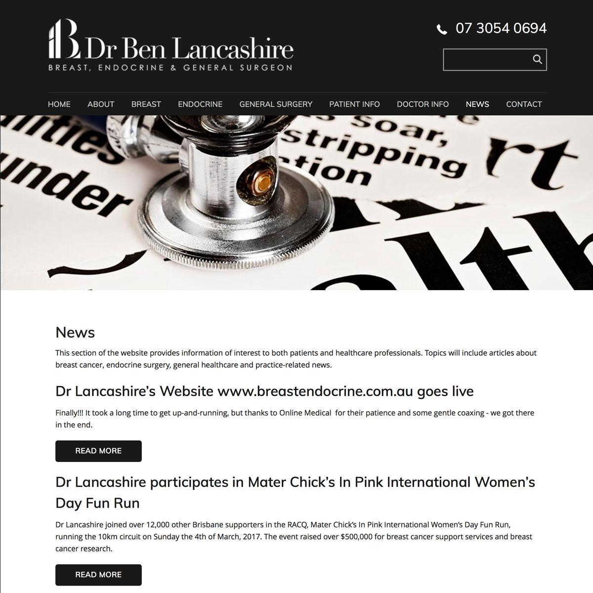 Dr Ben Lancashire - News
