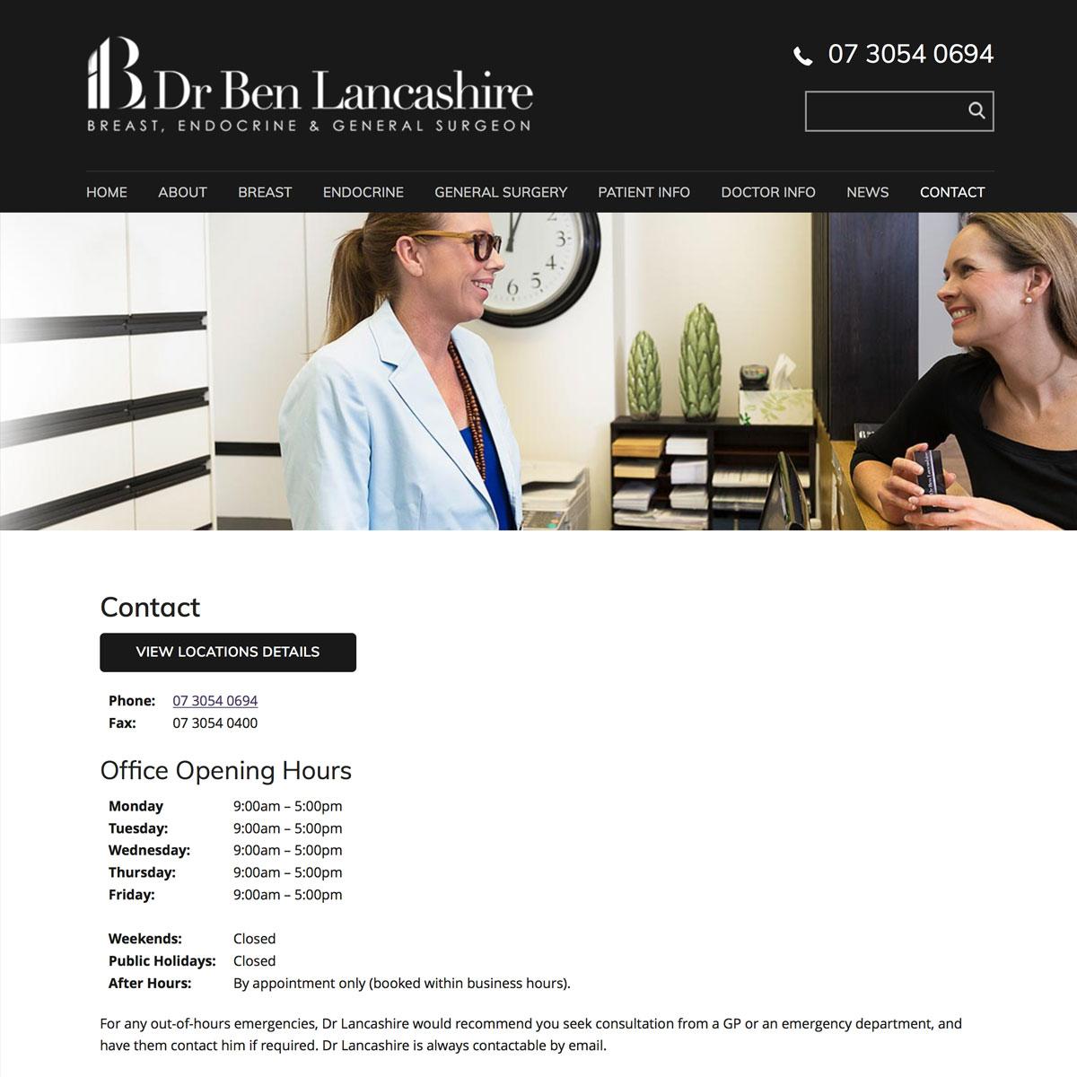 Dr Ben Lancashire - Contact