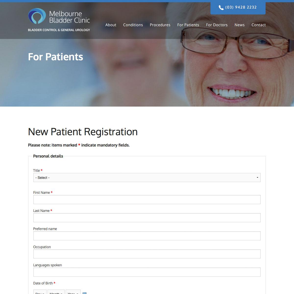 Melbourne Bladder Clinic New Patient Registration