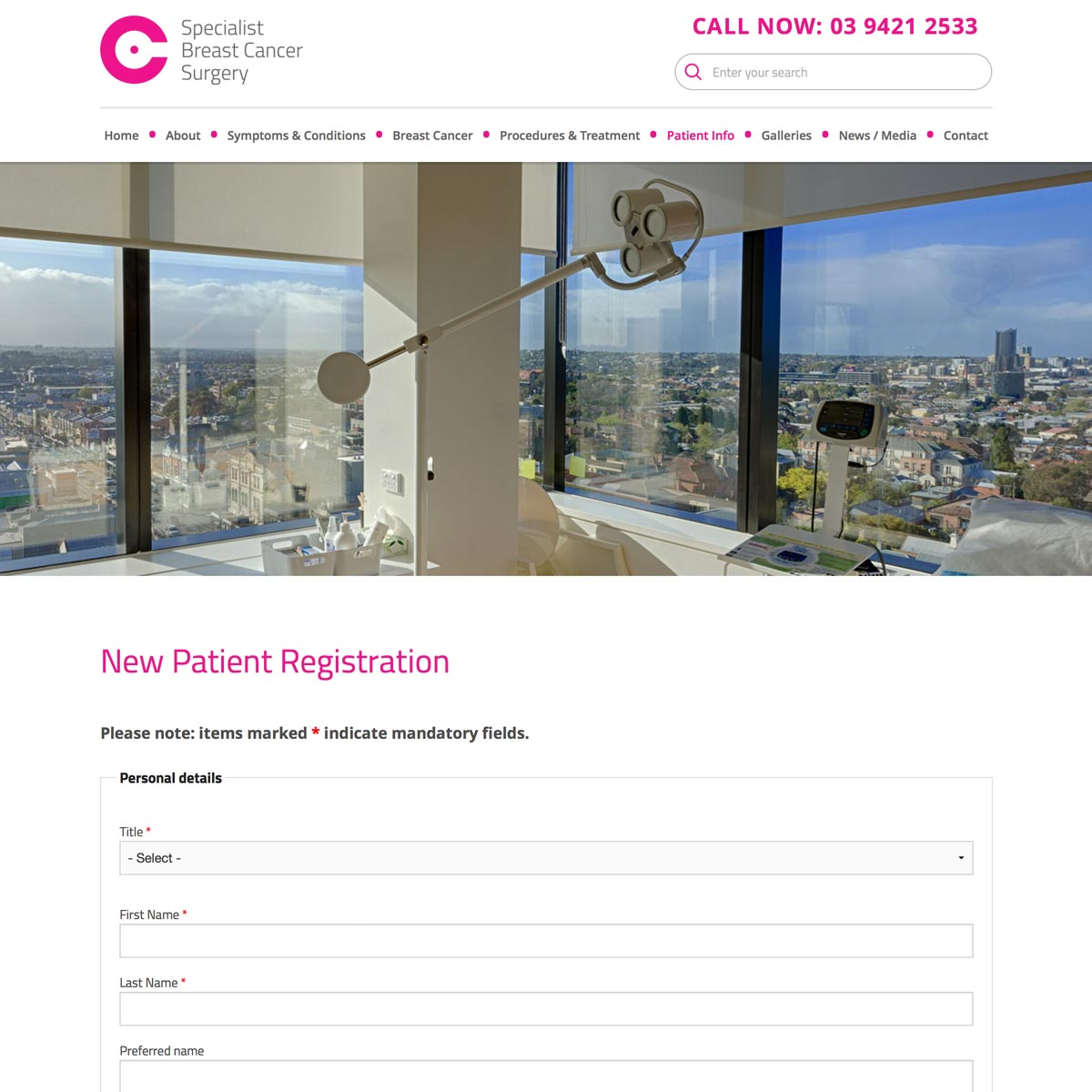 Breast Cancer Specialist - New Patient Registration
