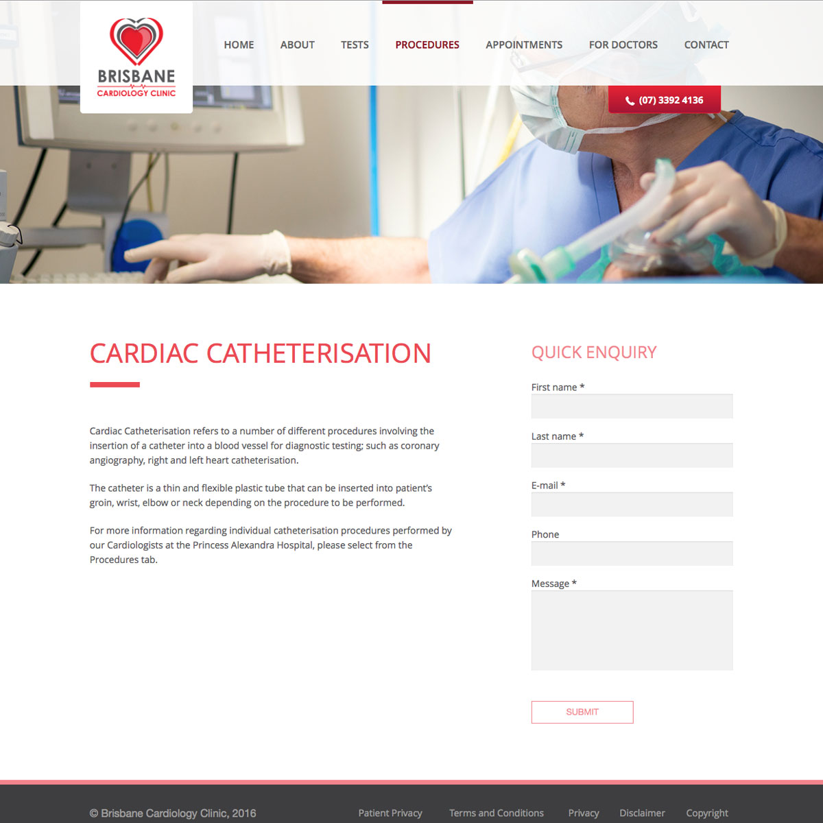 Brisbane Cardiology Clinic Internal Page