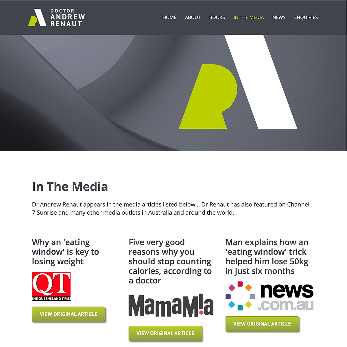 Dr Andrew Renaut - In The Media