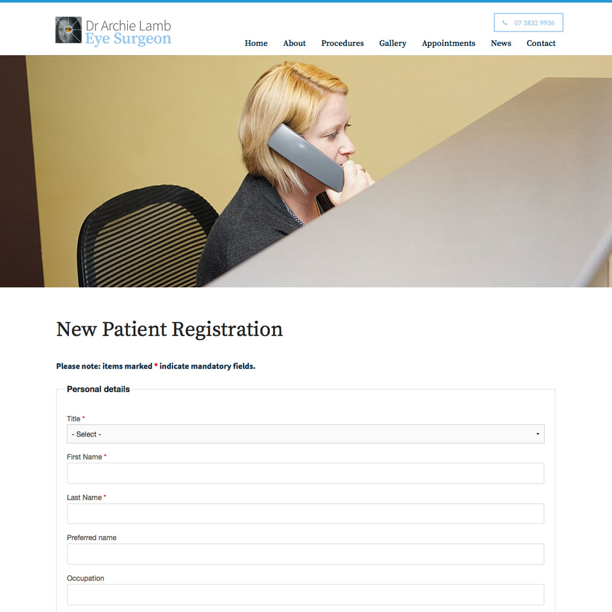Dr Archie Lamb - Registration Form