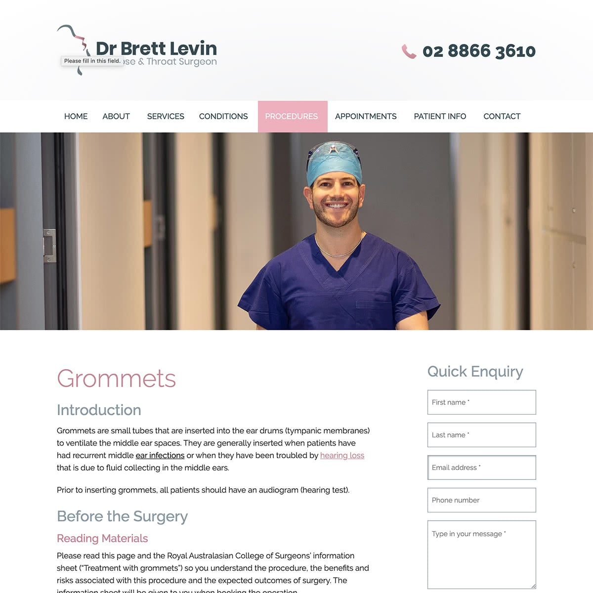 Dr Brett Levin - Procedures