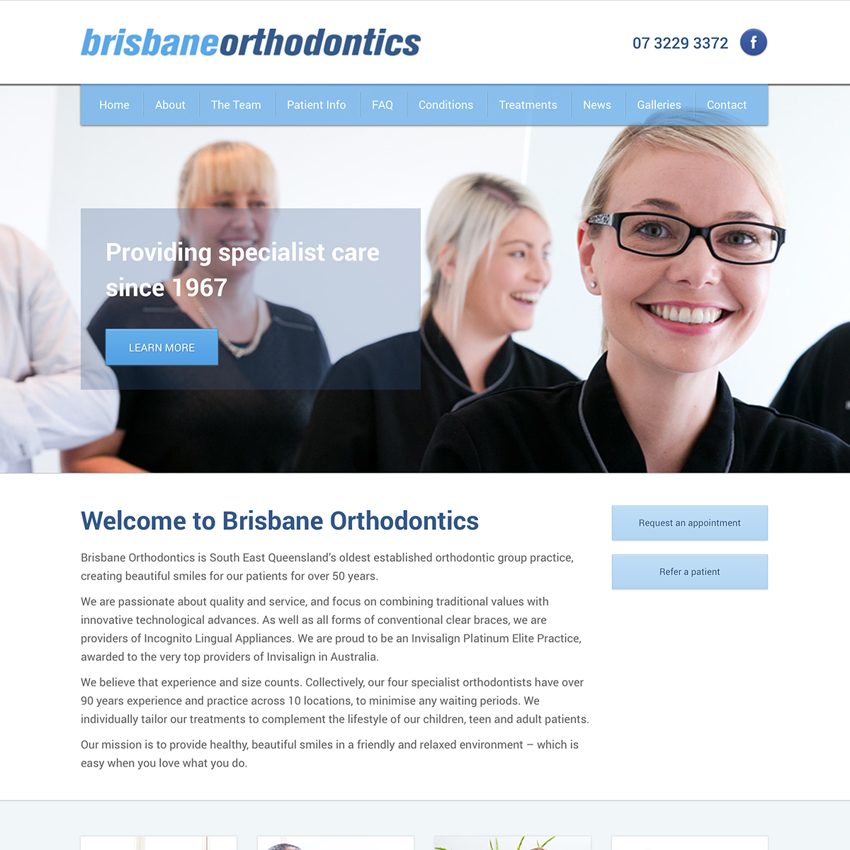 Image of home page of Brisbane Orthodontics