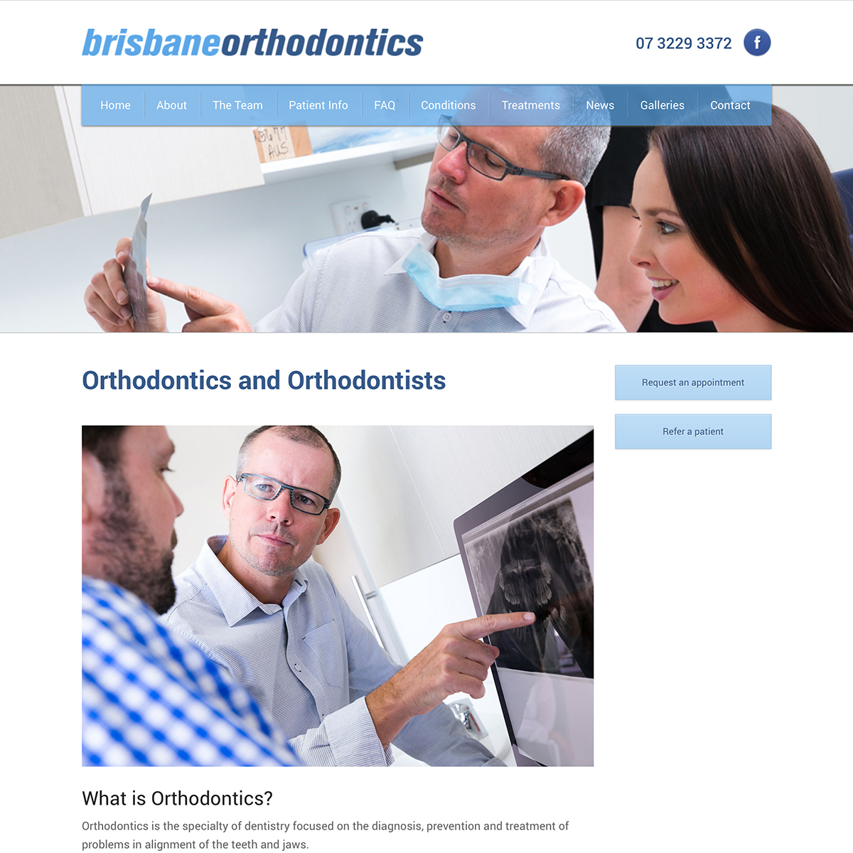 Screenshot of page explaining what orthodontics is