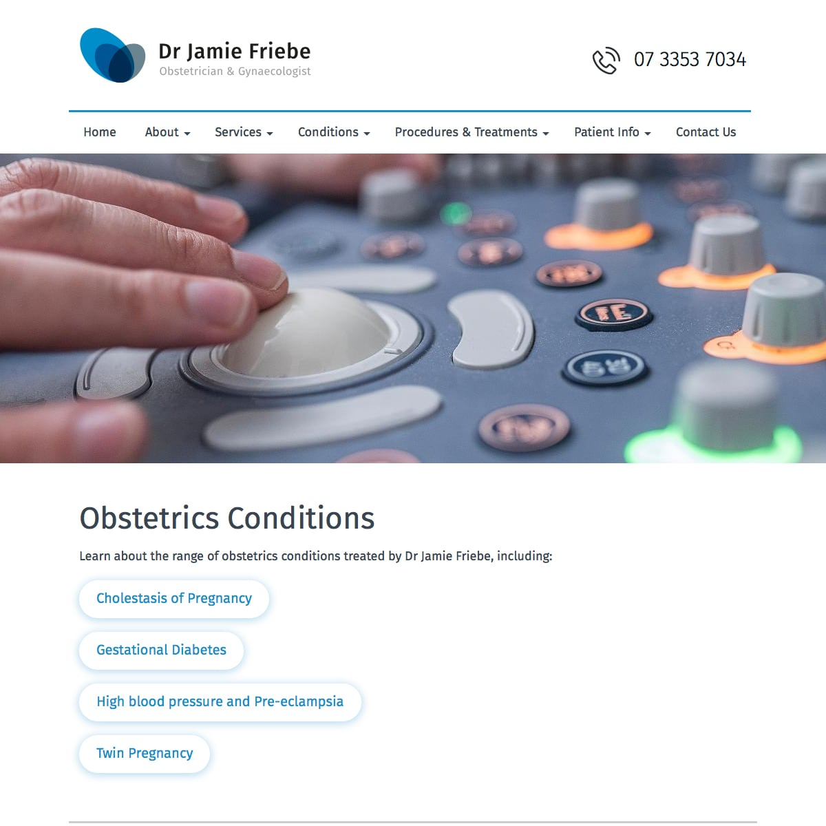 Dr Jamie Friebe - Obstetrics Conditions