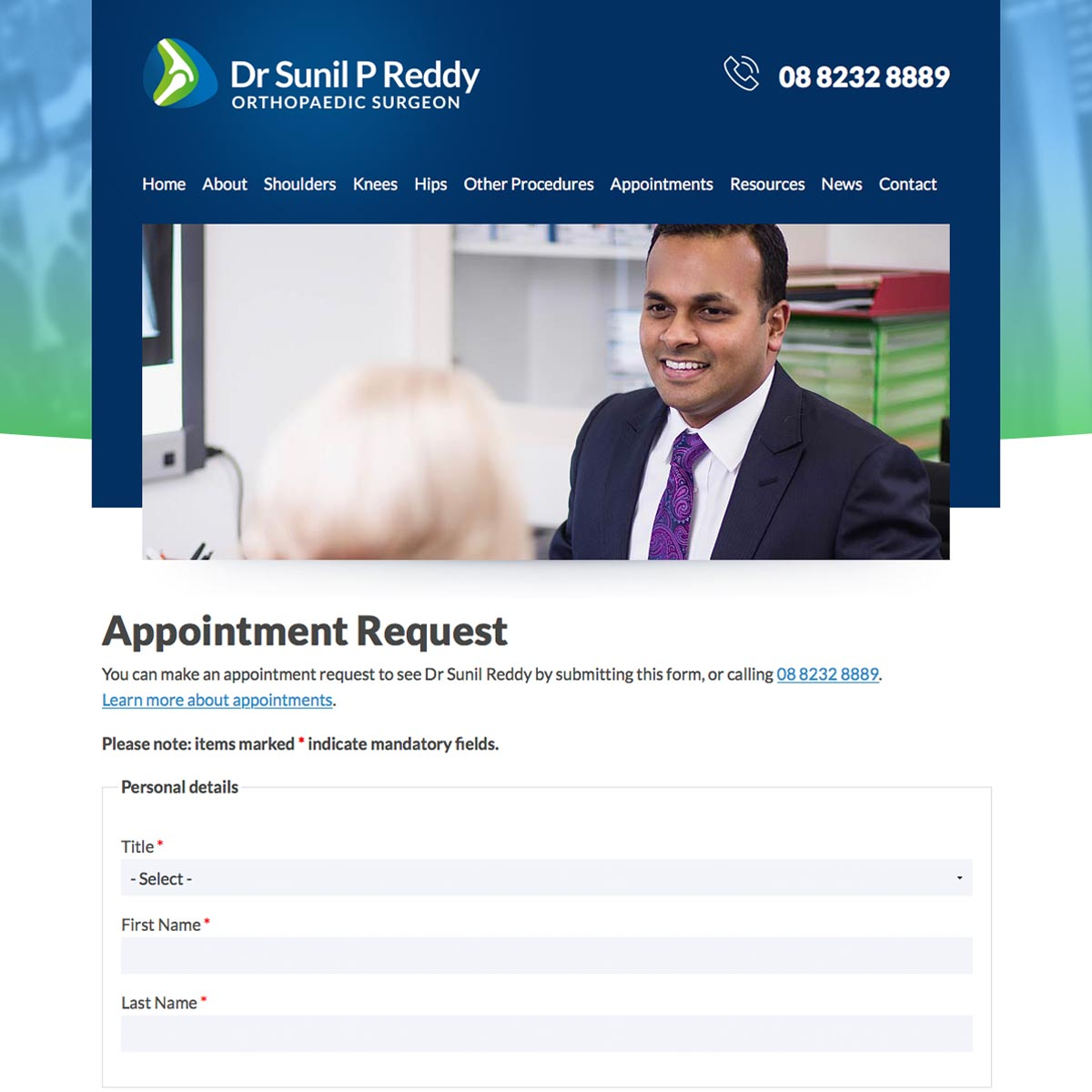 Dr Sunil Reddy - Appointment Request