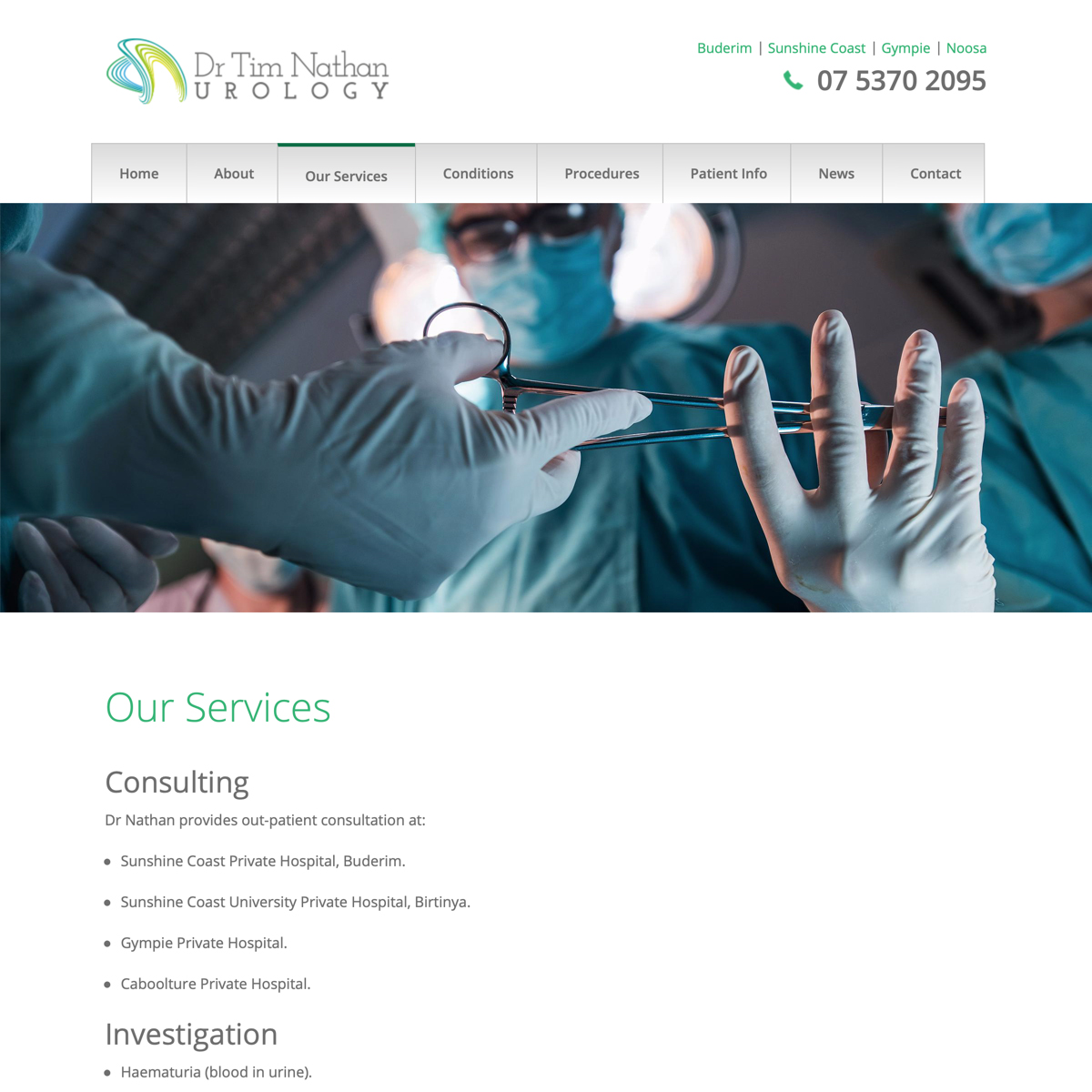 Dr Tim Nathan Urology - Our Services