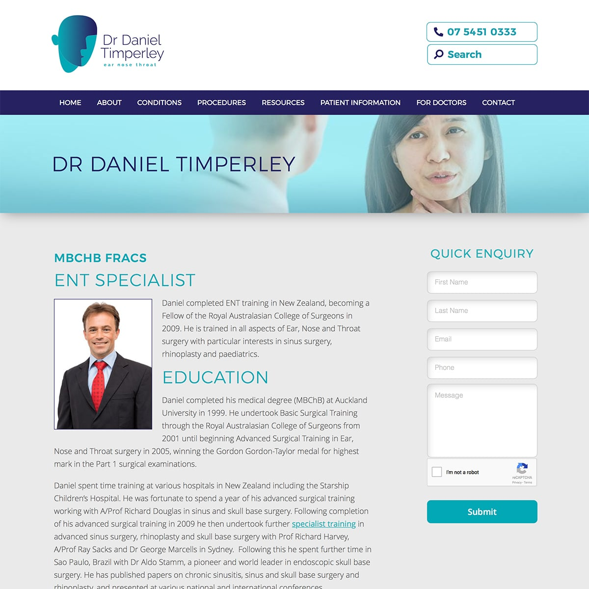 Dr Daniel Timperley - Bio