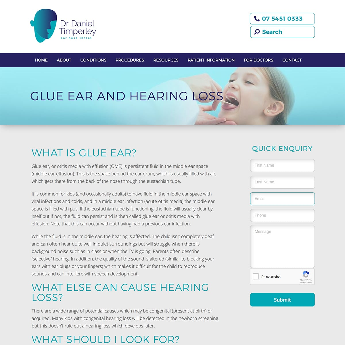 Dr Daniel Timperley - Glue Ear and Hearing Loss