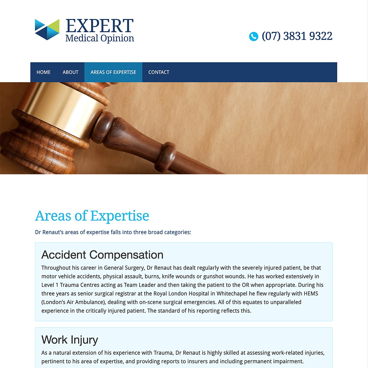 Expert Medical Opinion - Areas of Expertise