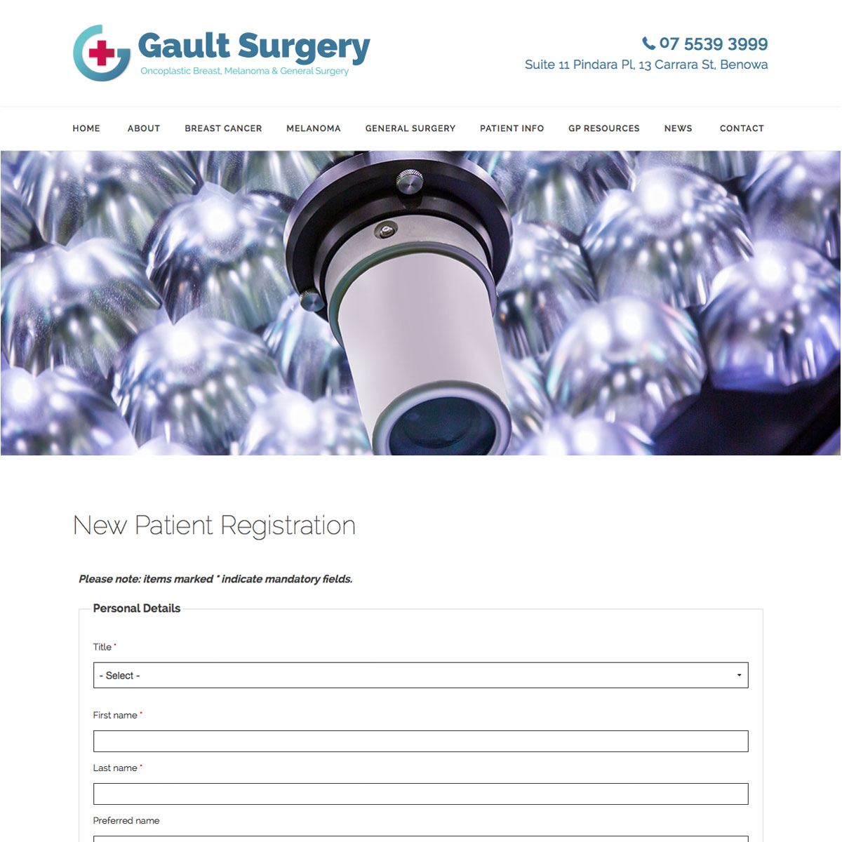 Gault Surgery New Patient Registration