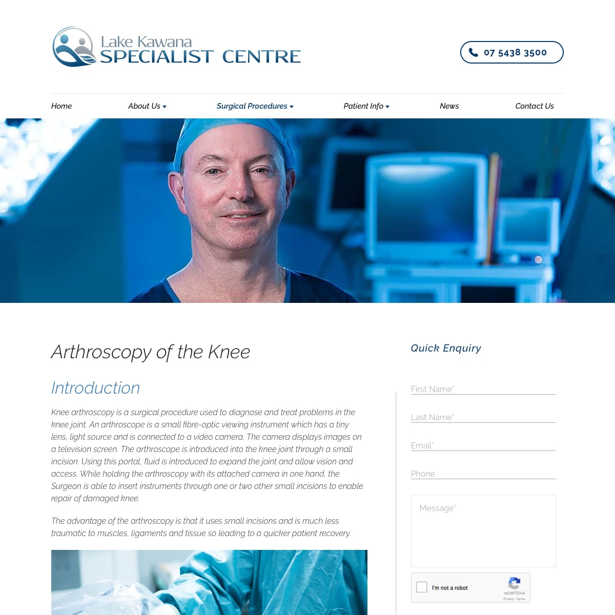 Lake Kawana Specialist Centre - Arthroscopy of the Knee