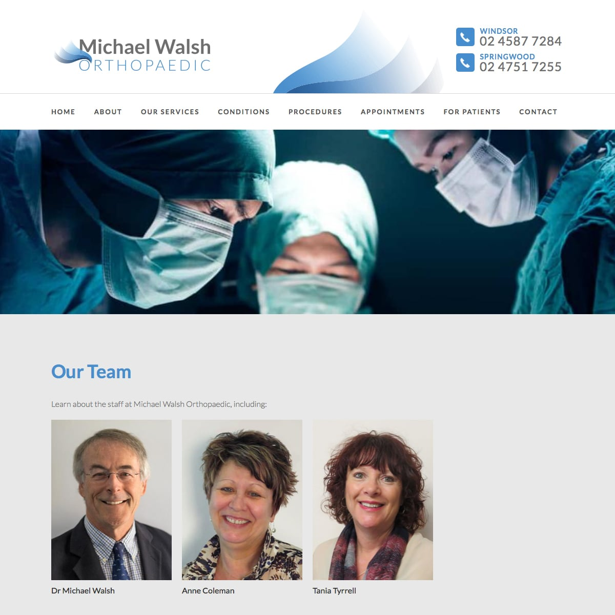 Michael Walsh Orthopaedic - Our Team