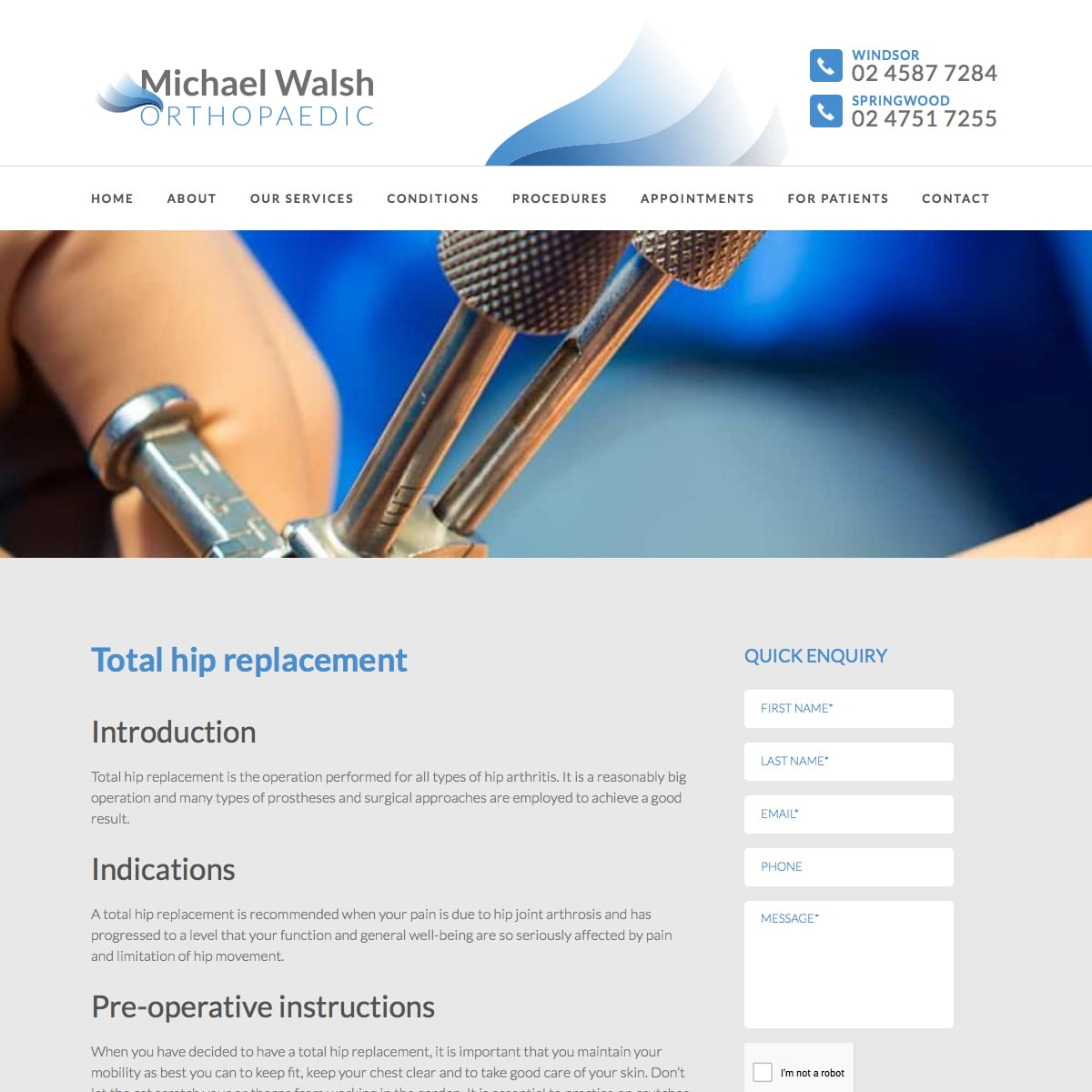 Michael Walsh Orthopaedic - Total hip replacement