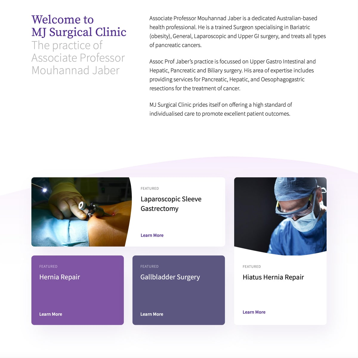 MJ Surgical Clinic - Homepage Feature Navigation