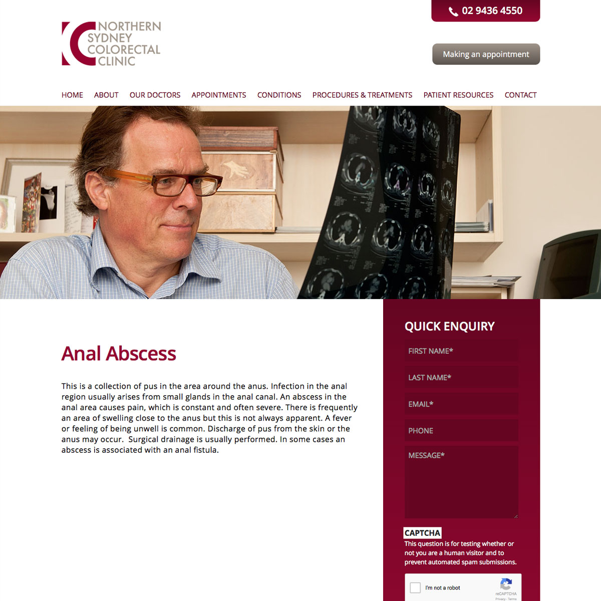 Northern Sydney Colorectal Clinic Content Page