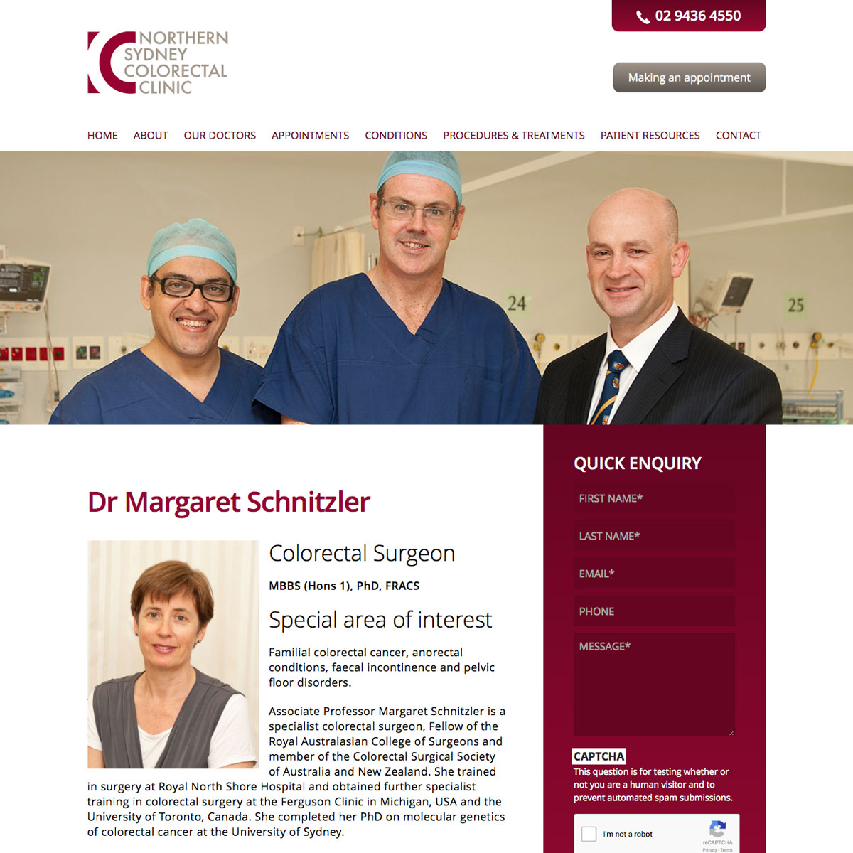 Northern Sydney Colorectal Clinic Dr Margerat Schintzler