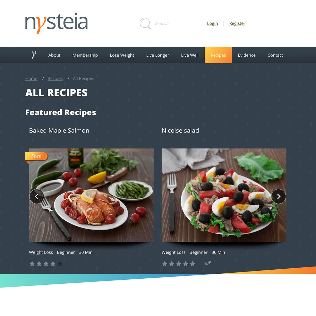 """Recipe listing page - showing featured recipes and """"free"""" items"""