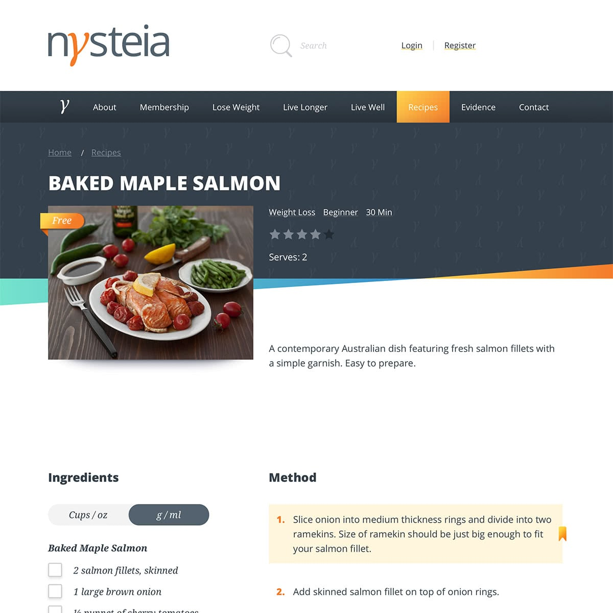 Recipe page - showing ingredients and method