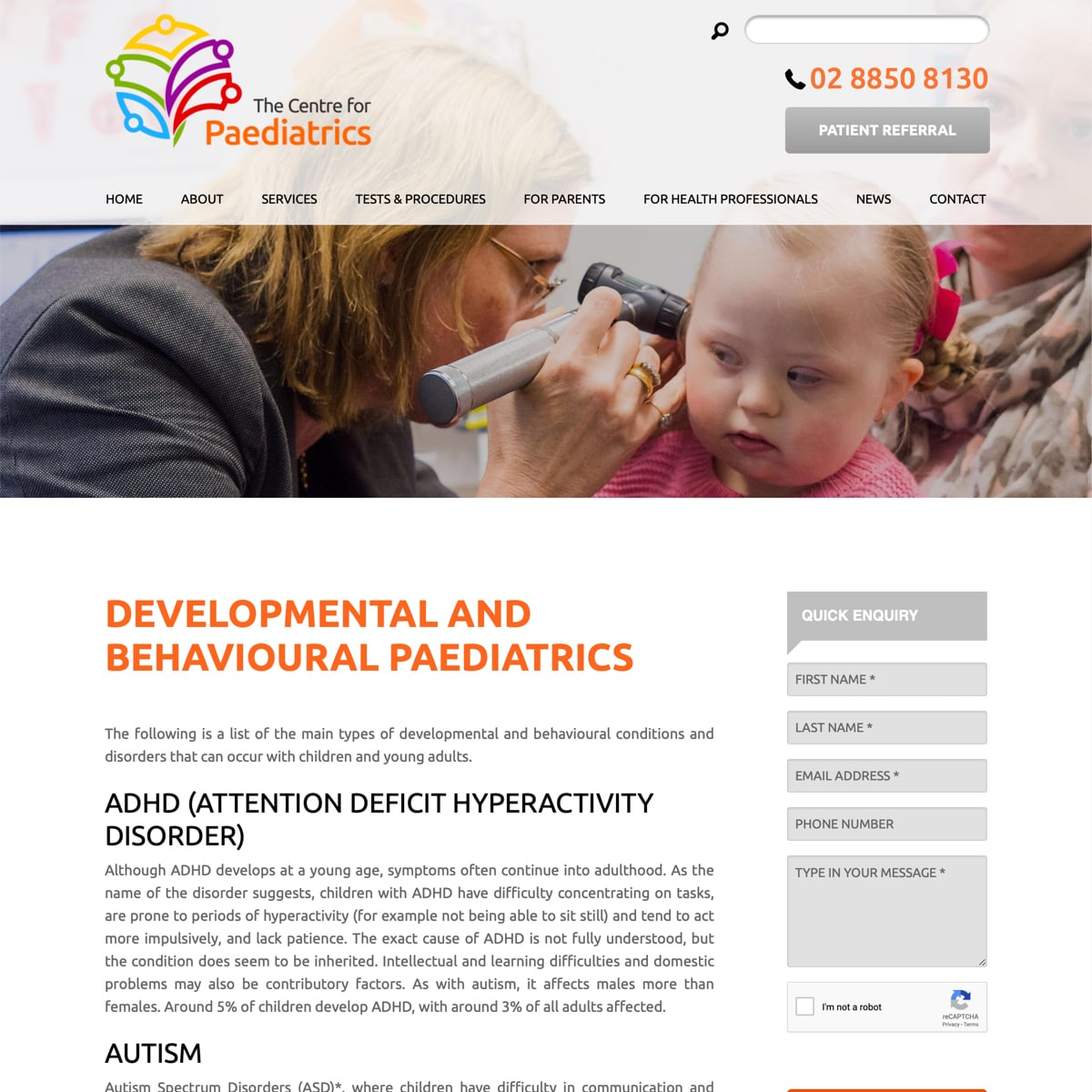 The Centre for Paediatrics - Services