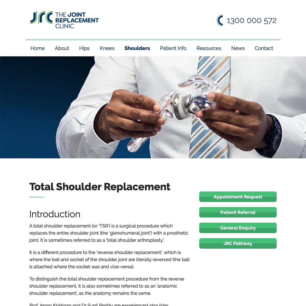 The Joint Replacement Clinic - Total Shoulder Replacement