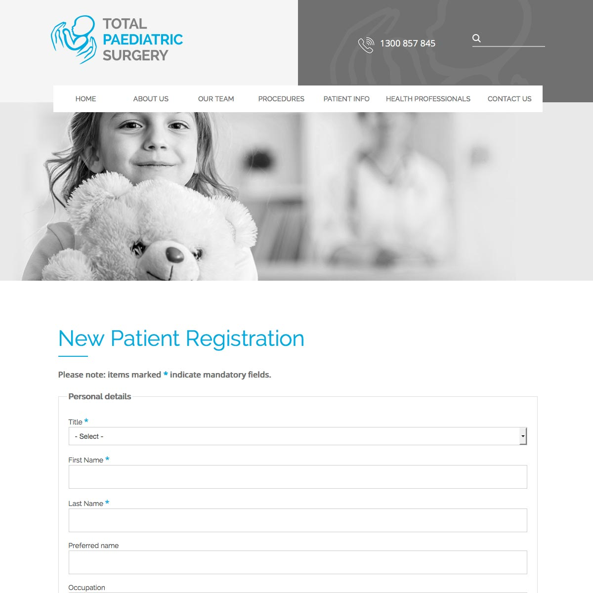 Total Paediatric Surgery New Patient Registration